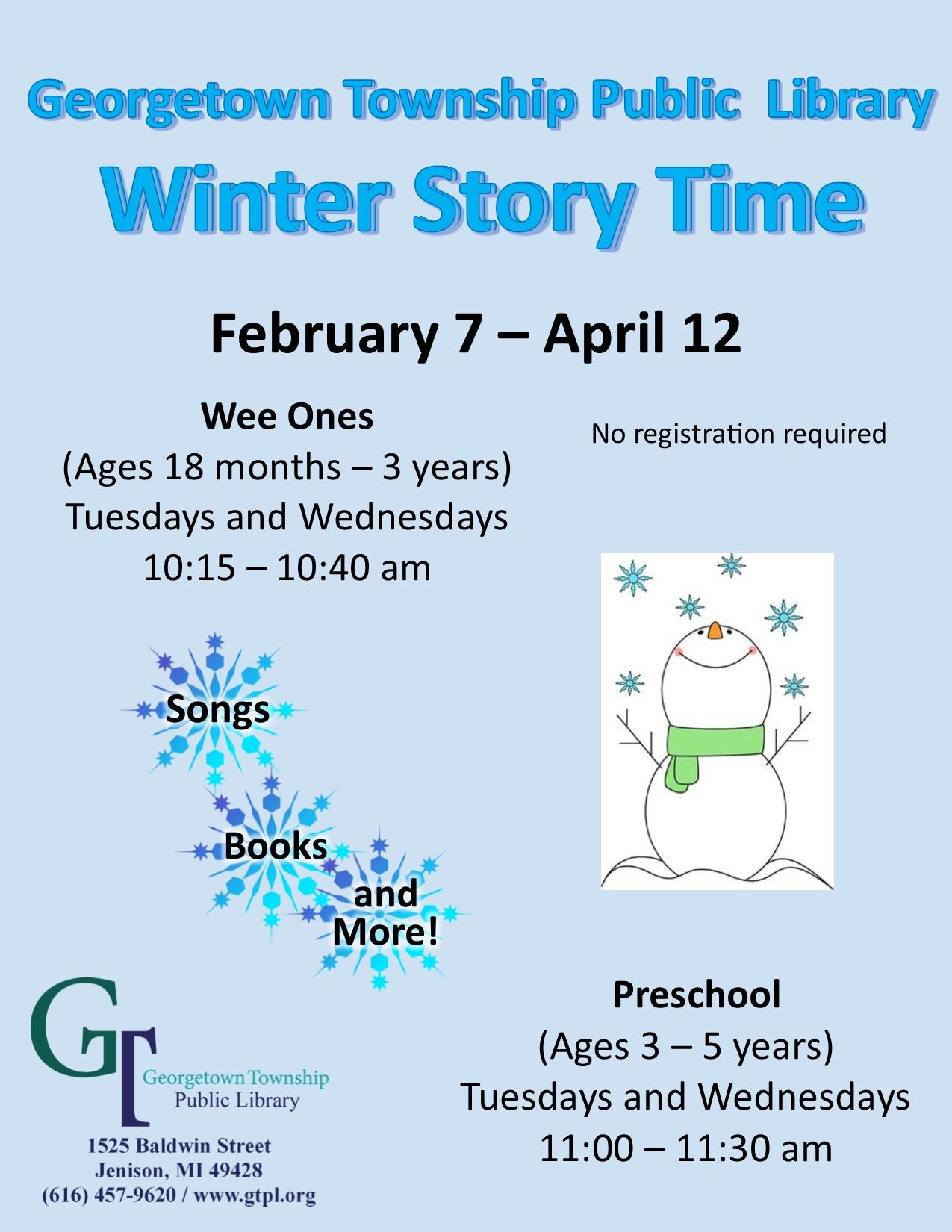 Winter 2017 Story Time flyer